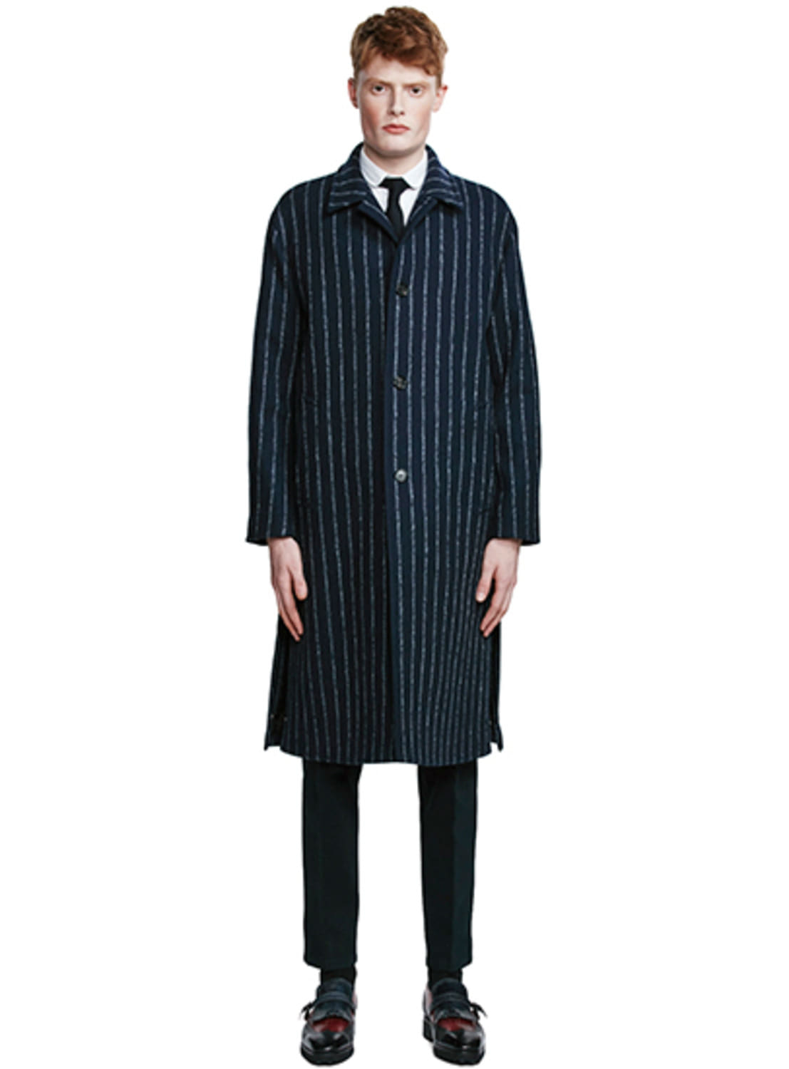 Navy Stripe Split Wool Coat