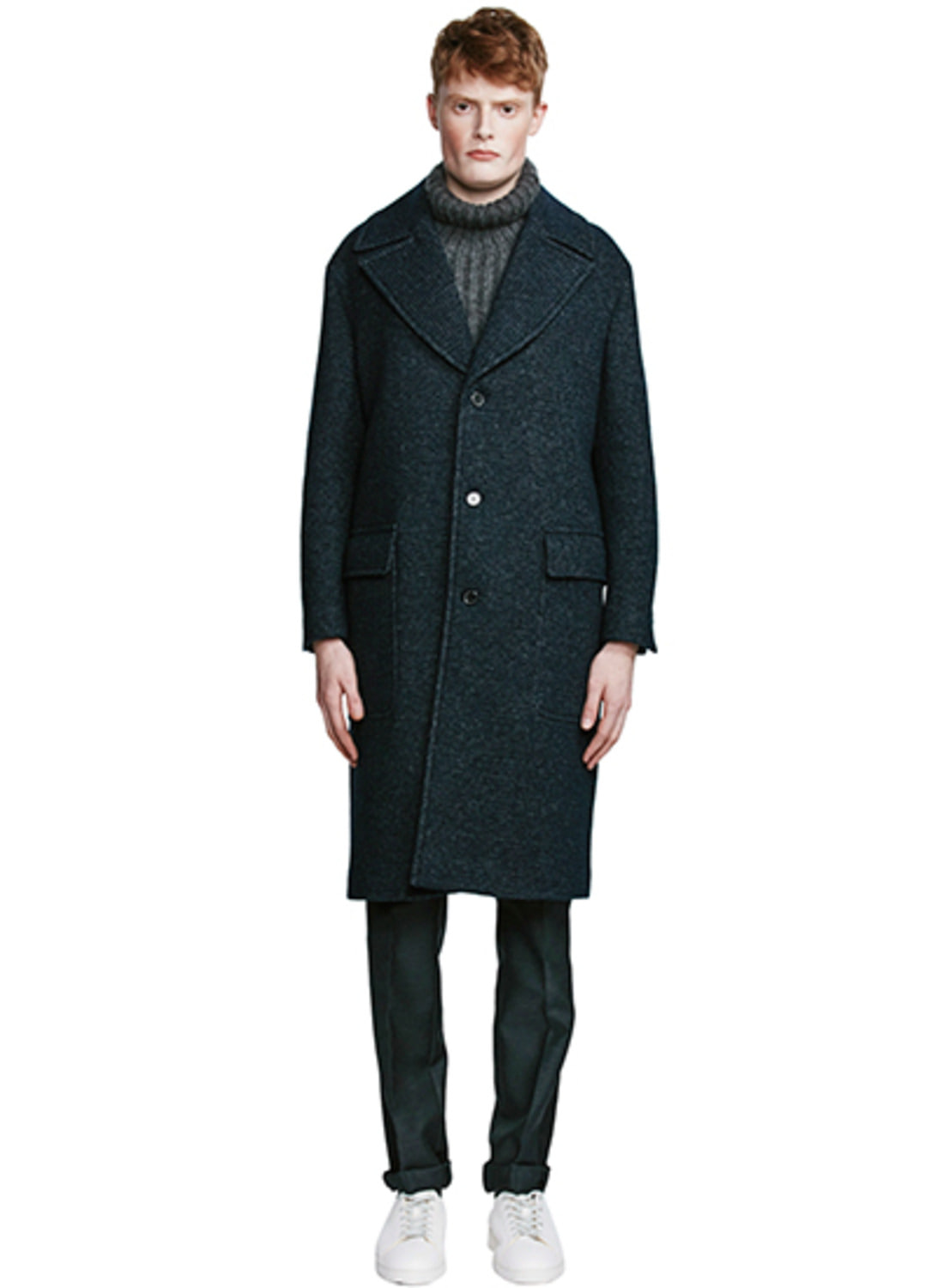 Navy Big Flap Pocket Tweed Coat