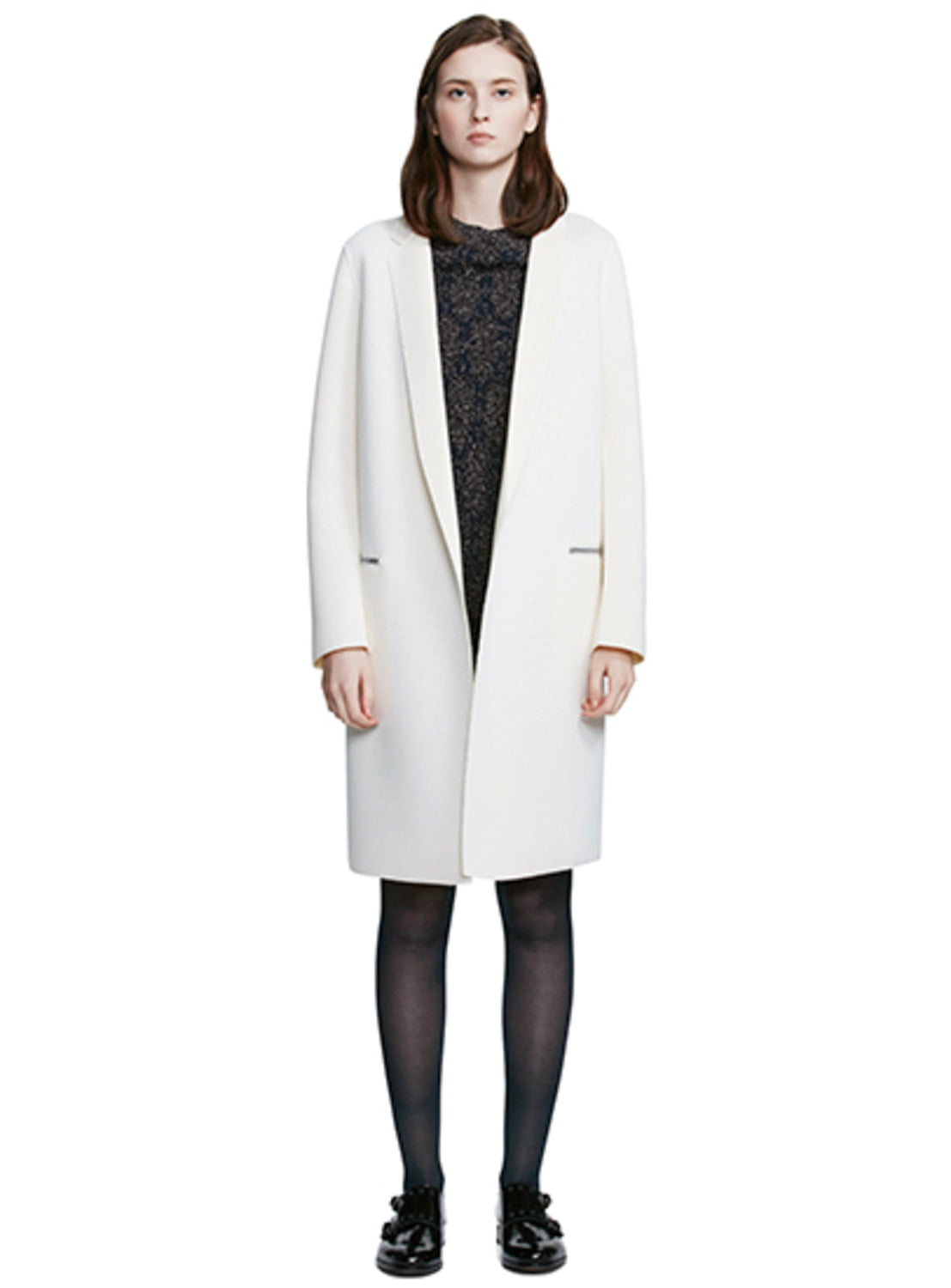Ivory Neoprene Long Blazer
