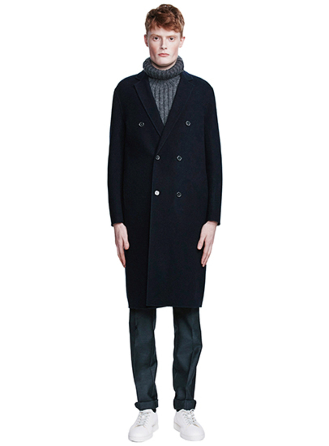 Navy Wool & Cashmere Double Handmade Coat