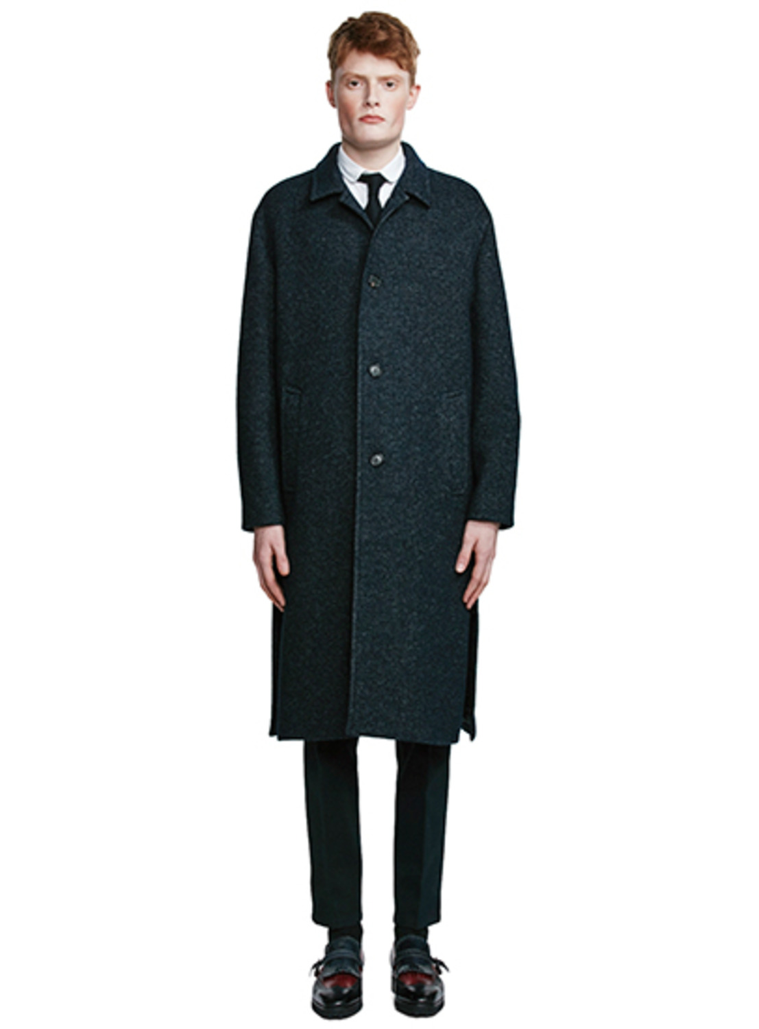 Navy  Tweed Split  Coat