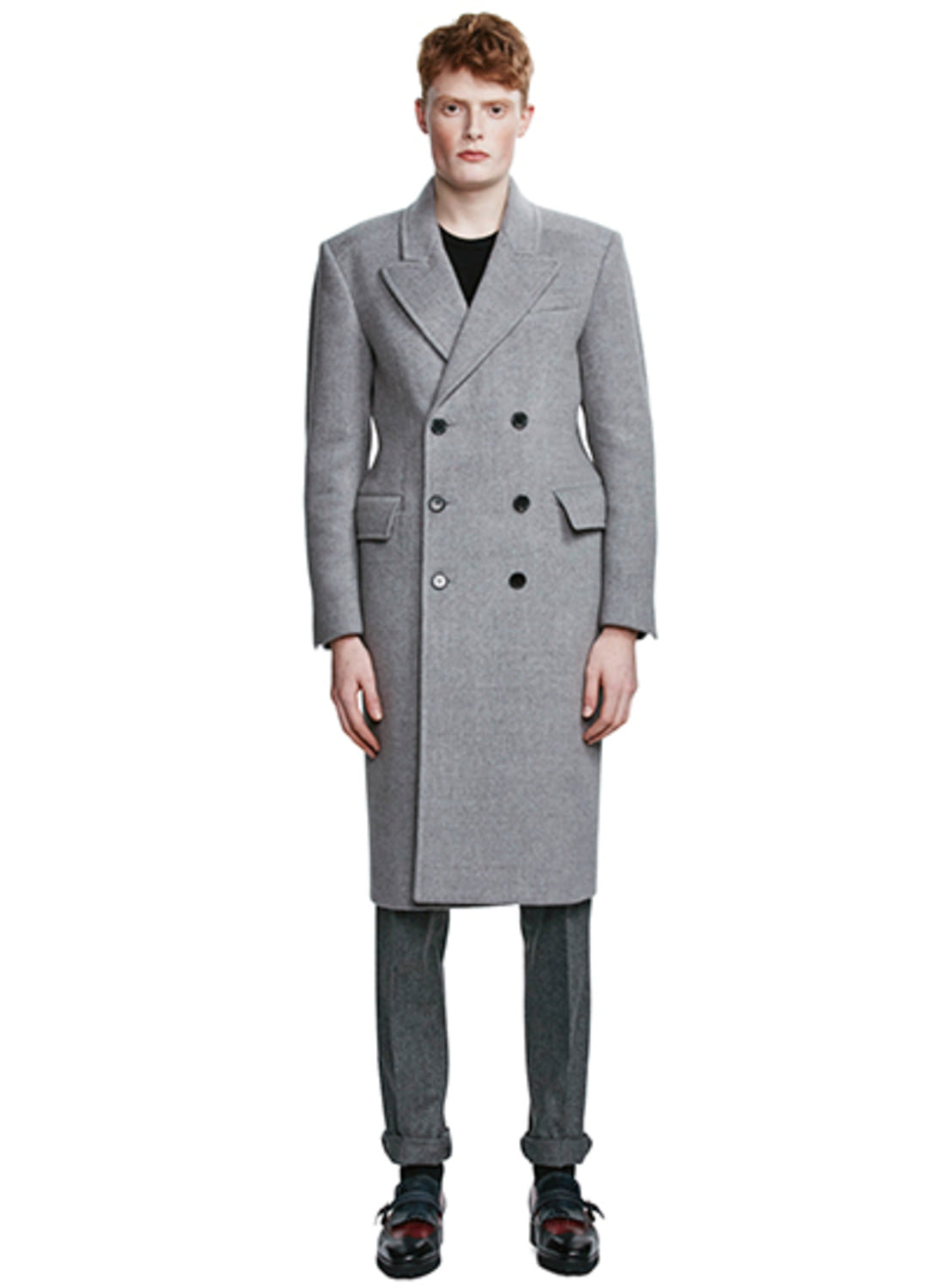 Grey Check Double-Breasted Coat